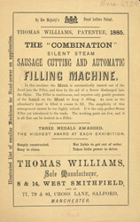 Advert for the Thomas Williams sausage making machine